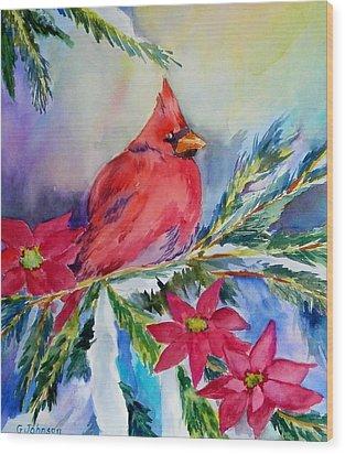 The Cardinal Wood Print by Gloria Johnson