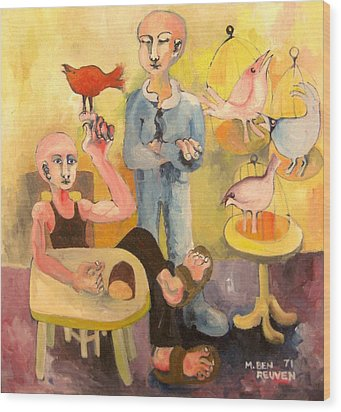 The Cardinal Sings Wood Print by Moshe BenReuven