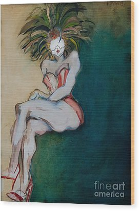 The Carnival Queen - Masked Woman Wood Print by Carolyn Weltman