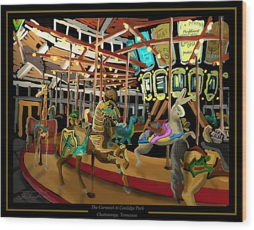 The Carousel At Coolidge Park - Chattanooga Landmark Series - #6 Wood Print by Steven Lebron Langston