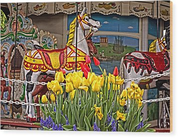 The Carousel Wood Print by Cheryl Cencich
