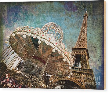 The Carrousel Of The Eiffel Tower Wood Print by Delphimages Photo Creations
