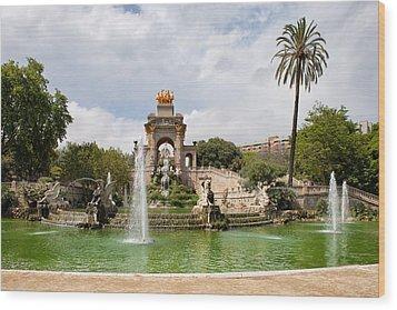The Cascada In Ciutadella Park In Barcelona Wood Print by Artur Bogacki