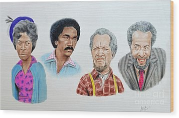 The Cast Of Sanford And Son  Wood Print