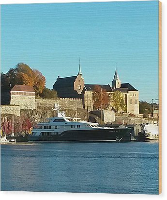 The Castle By The Waterfront Wood Print