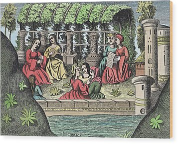 The Castle Of Alamond And Its Enchantments Wood Print by French School
