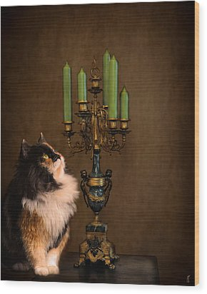 The Cat And The Candelabra Wood Print by Jai Johnson