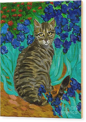 Wood Print featuring the painting The Cat At Van Gogh's Irises Garden by Jingfen Hwu