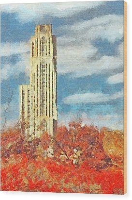 The Cathedral Of Learning At The University Of Pittsburgh Wood Print