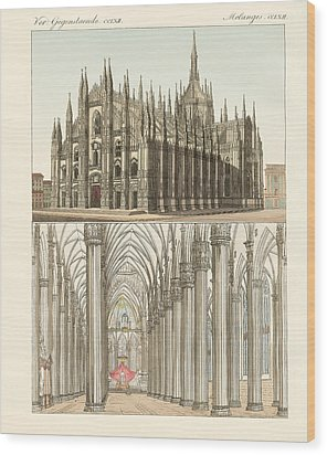 The Cathedral Of Milan Wood Print by Splendid Art Prints
