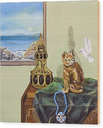 Wood Print featuring the painting The Cat's Meow by Susan Culver