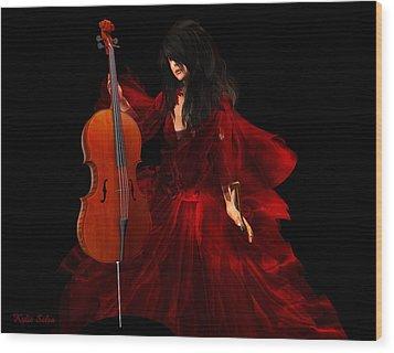 The Cellist Wood Print