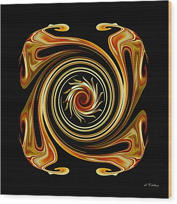 Wood Print featuring the digital art The Center Swirl by rd Erickson