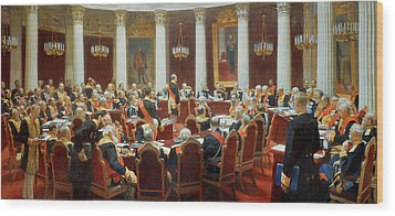 The Ceremonial Sitting Of The State Council 7th May 1901 Wood Print by Ilya Efimovich Repin