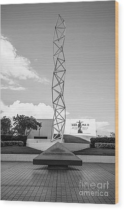 The Challenger Memorial - Bayfront Park - Miami - Black And White Wood Print by Ian Monk