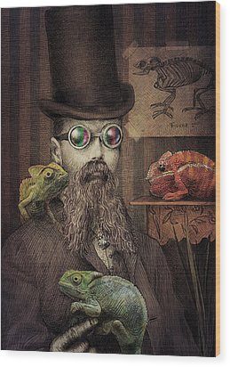 The Chameleon Collector Wood Print by Eric Fan
