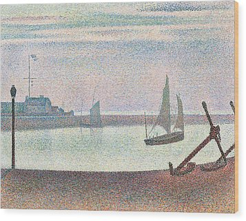 The Channel At Gravelines In The Evening Wood Print by Georges Seurat