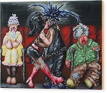 The Chaperones At The Movies Wood Print by Alison  Galvan
