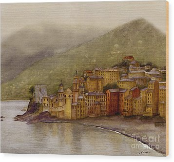 The Charming Town Of Camogli Italy Wood Print by Nan Wright