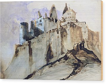 The Chateau Of Vianden Wood Print by Victor Hugo