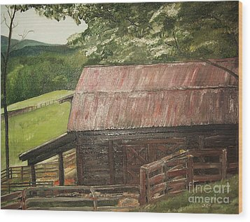 Wood Print featuring the painting The Cherrys Barn by Jan Dappen