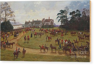 The Cheshire Hunt    The Meet At Calveley Hall  Wood Print by George Goodwin Kilburne
