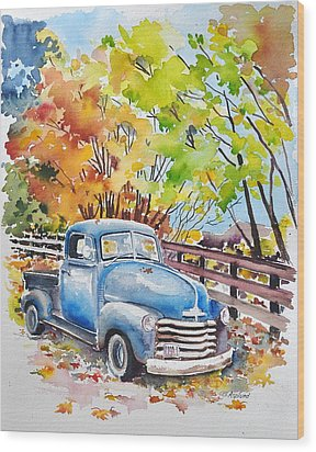 The Old Chevy In Autumn Wood Print