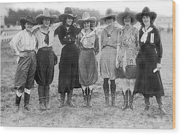 The Cheyenne Rodeo Roundup Cowgirls Wood Print by Underwood Archives