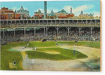 The Chicago Cubs West Side Grounds Stadium In 1913 Wood Print