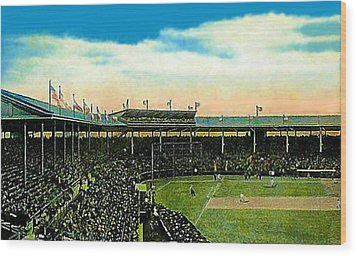 The Chicago Cubs Wrigley Field Around 1920 Wood Print by Dwight Goss