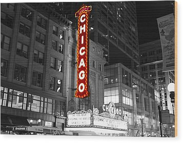 The Chicago Theatre Wood Print by Jerome Lynch