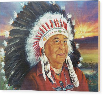 The Chief  Wood Print by Gracia  Molloy