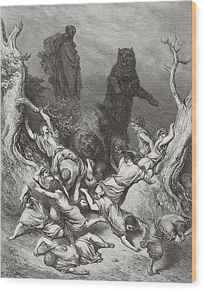 The Children Destroyed By Bears Wood Print by Gustave Dore