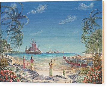 Wood Print featuring the painting The Chinese Treasure Fleet Arrives by Anthony Lyon