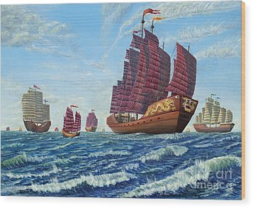 Wood Print featuring the painting The Chinese Treasure Fleet Sets Sail by Anthony Lyon