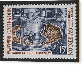 The Chocolate Factory Vintage Postage Stamp Wood Print by Andy Prendy