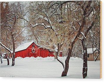 The Christmas Barn Wood Print by Teri Virbickis