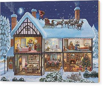 Christmas House Wood Print by Steve Crisp