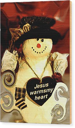 The Christmas Snowman Wood Print by MaryJane Armstrong