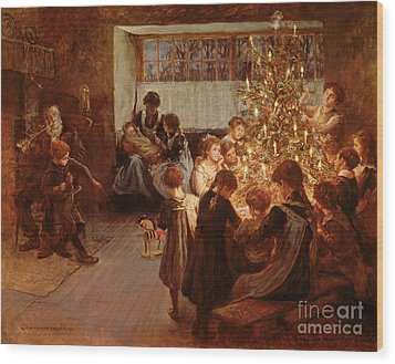 The Christmas Tree Wood Print by Albert Chevallier Tayler