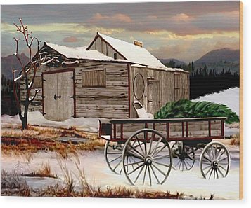 The Christmas Tree Wood Print by Ron and Ronda Chambers