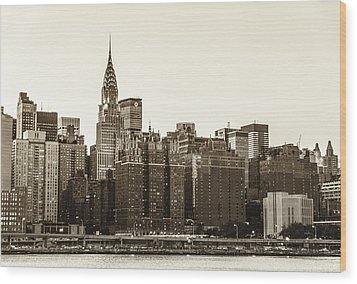 The Chrysler Building And New York City Skyline Wood Print by Vivienne Gucwa