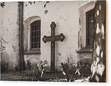 The Church Courtyard Wood Print