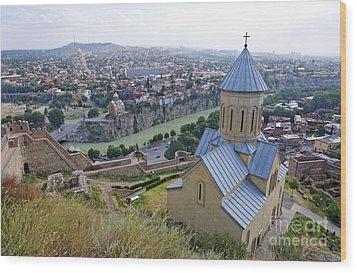 The Church Of St Nicolas Overlooking Tbilisi Georgia Wood Print by Robert Preston