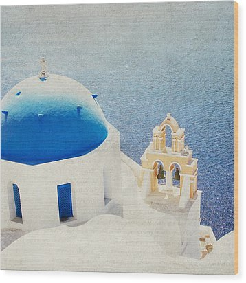 Wood Print featuring the photograph The Church - Santorini by Lisa Parrish