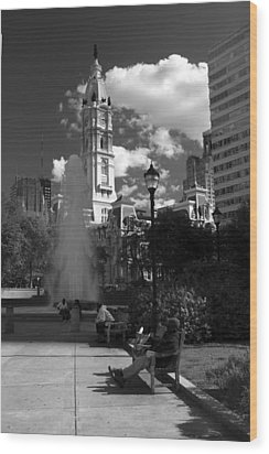 Wood Print featuring the photograph The City Hall Of Philadelphia In Black And White by Dorin Adrian Berbier