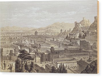 The City Of Ephesus From Mount Coressus Wood Print by Edward Falkener