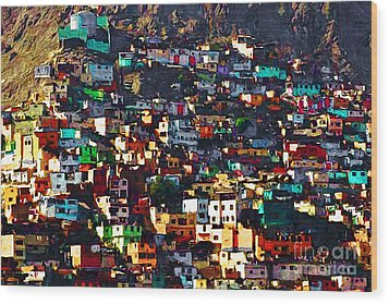 The City On The Hill V1 Wood Print by Wingsdomain Art and Photography