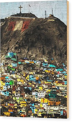 The City On The Hill V2 Wood Print by Wingsdomain Art and Photography