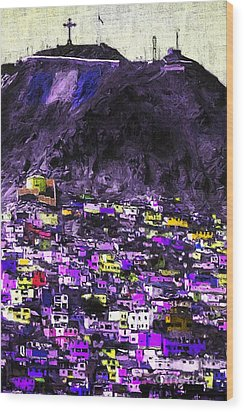 The City On The Hill V2p128 Wood Print by Wingsdomain Art and Photography